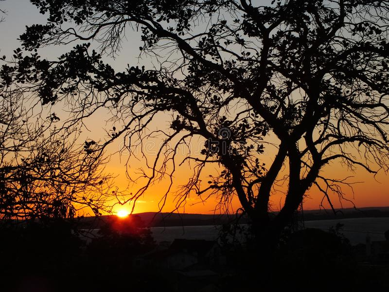 Sunset in Porto Alegre, Brazil. Afternoon in the city royalty free stock photos