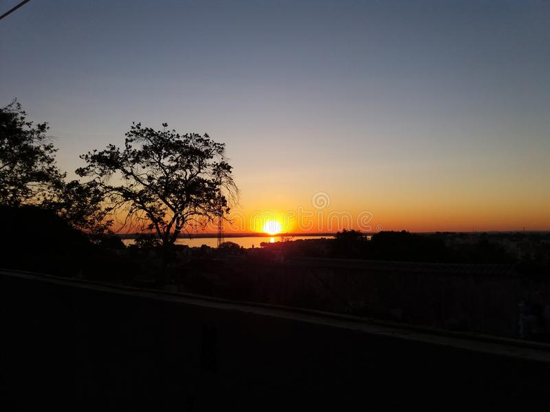 Sunset in Porto Alegre, Brazil. Heaven after a rainy day stock photography