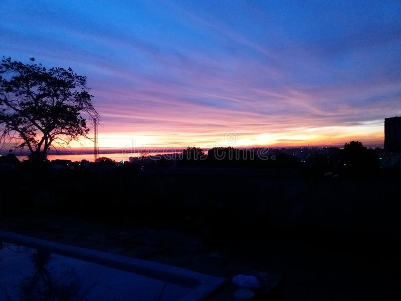 Sunset in Porto Alegre, Brazil. Heaven after a rainy day stock images