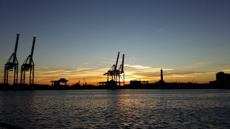 Sunset at Porto Antico Genoa royalty free stock photo