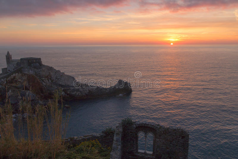 Sunset in portovenere royalty free stock images