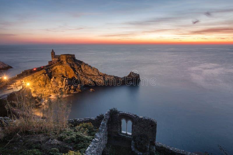 Sunset in portovenere stock photo