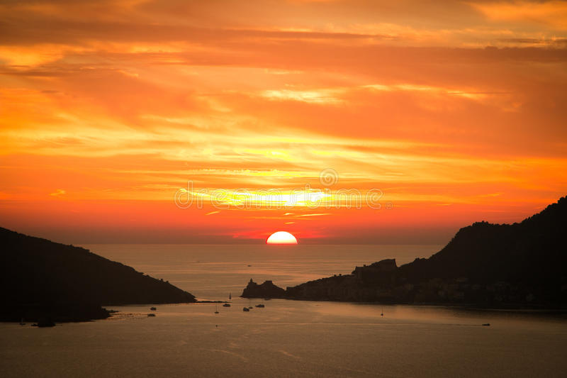 Sunset in Portovenere stock photography