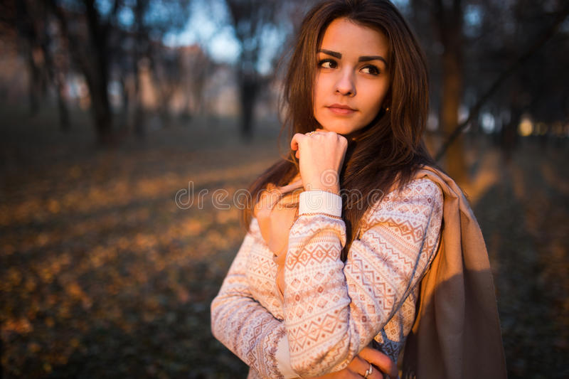 Sunset portrait of beautiful brunette young woman in autumn park royalty free stock photos