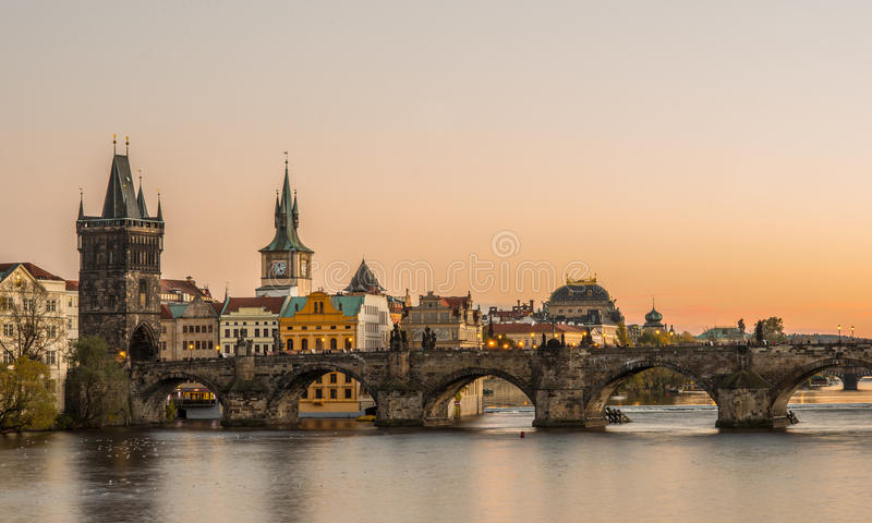 Sunset in Prague, Charles bridge stock photography