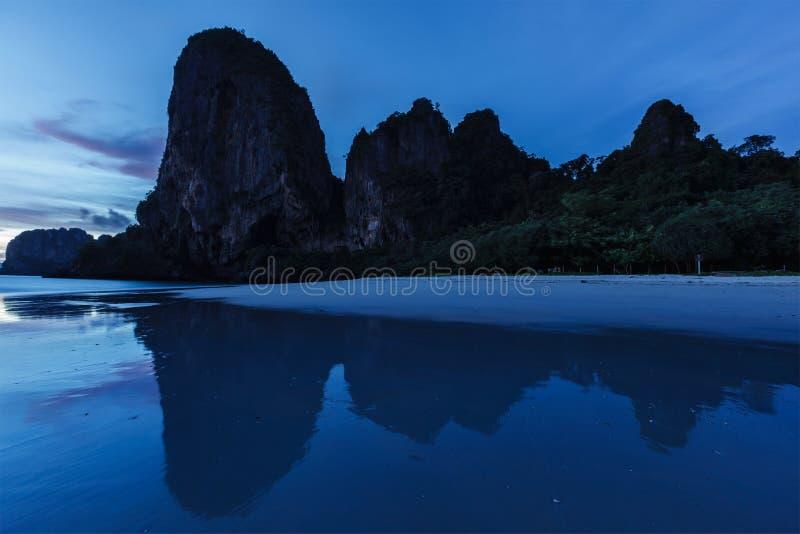 Sunset On Pranang Beach. Railay , Krabi Province Thailand Royalty Free Stock Photos