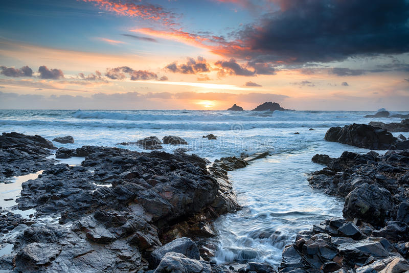 Sunset at Priest& x27;s Cove. Sunset over Priest& x27;s Cove at Cape Cornwall onear Land& x27;s End n the Cornish coast royalty free stock photos