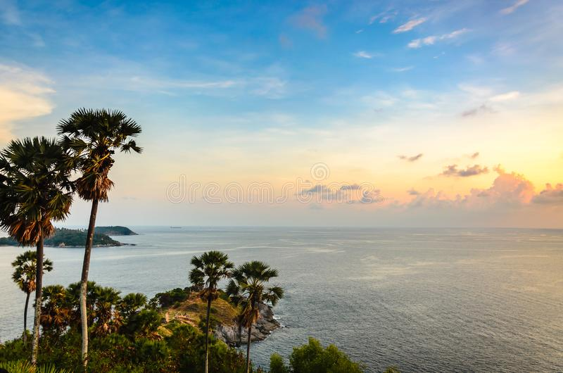 Sunset at Promthep cape, one of the most sunset viewpoint in Puket Thailand. royalty free stock photos