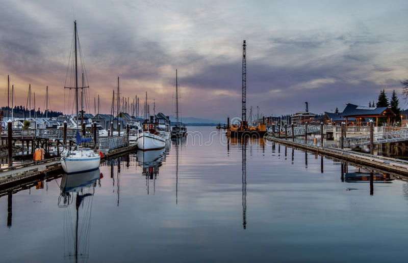 Sunset at Puget Sound stock photography