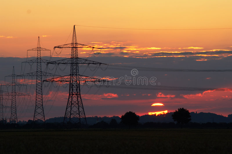 Download Sunset and pylons stock photo. Image of conductor, facility - 8378354