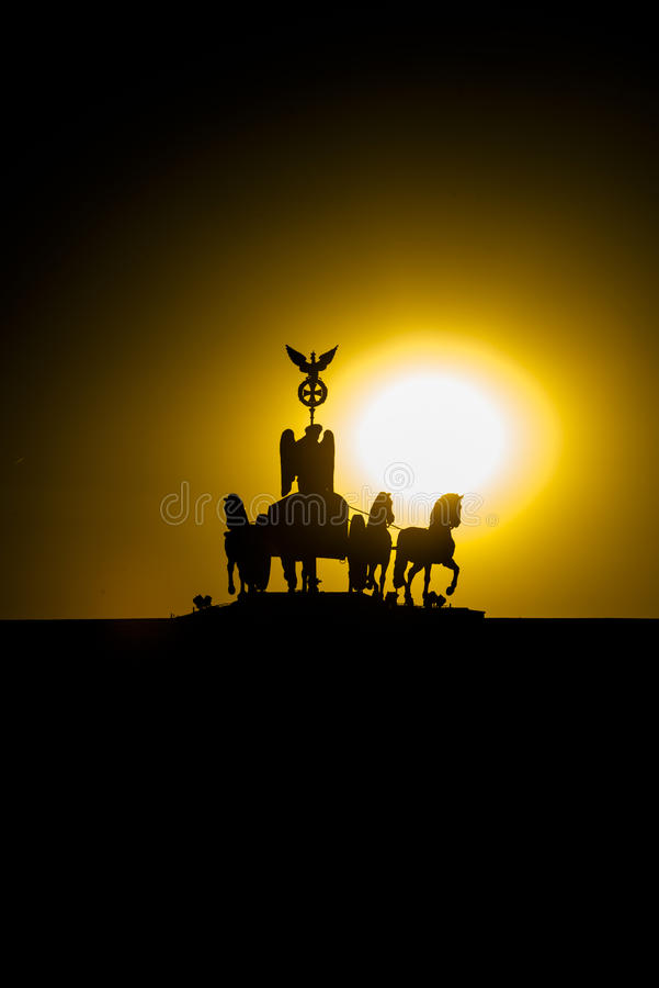 Sunset Quadriga at Brandenburg Gate, Berlin royalty free stock images