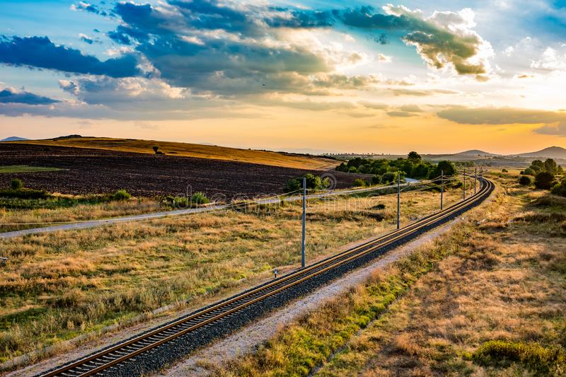 Sunset railway landscape background cloudscape stock photo
