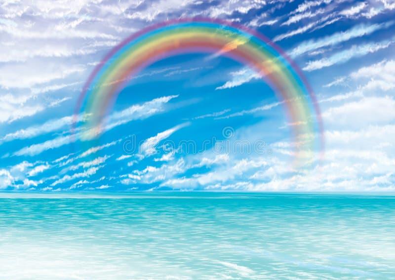 Sunset rainbow. Imagination drawing for rainbow and sunset stock illustration