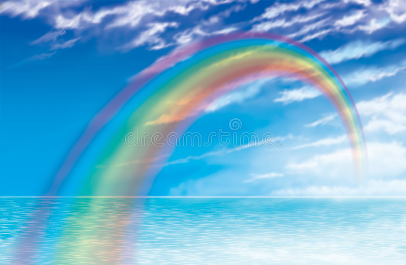 Sunset rainbow. Rainbow drawing across from sky to sea