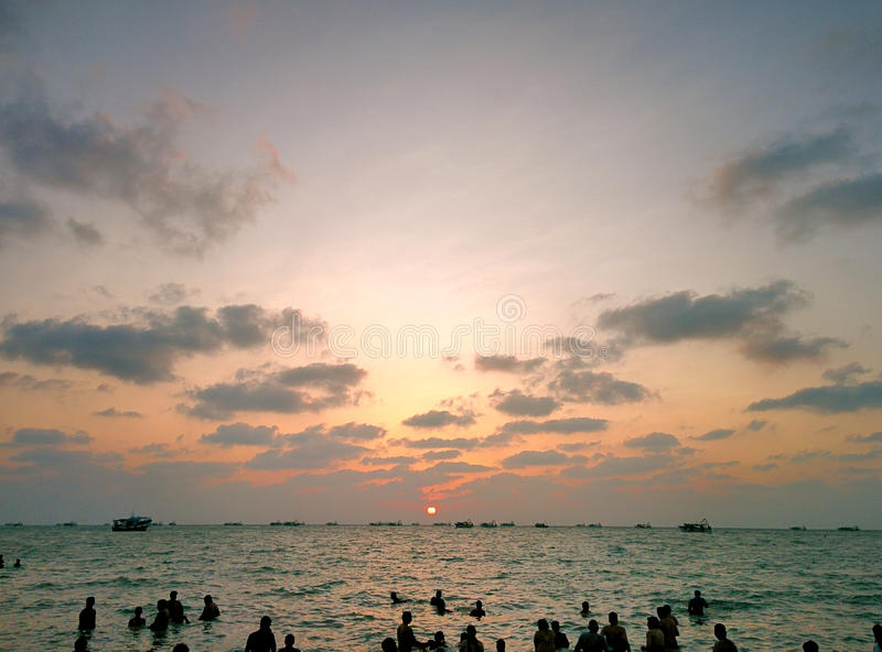 Sunset in Rameswaram. Oldest vedic place in India, Ramayana, Rama, Holy place royalty free stock photo