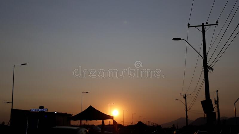 Sunset at rancagua Chile stock images