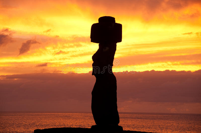 Sunset in Rapa Nui. Moai and sunset at Rapa Nui, Chile stock photo
