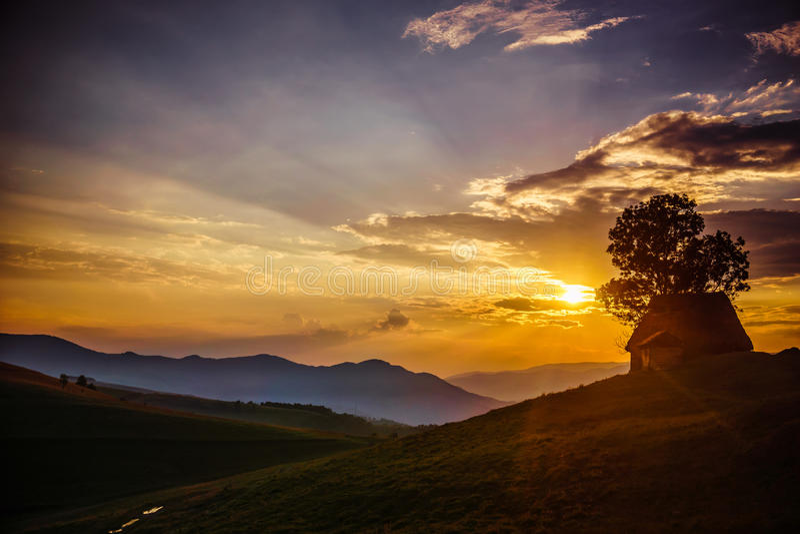 Sunset rays stock photos