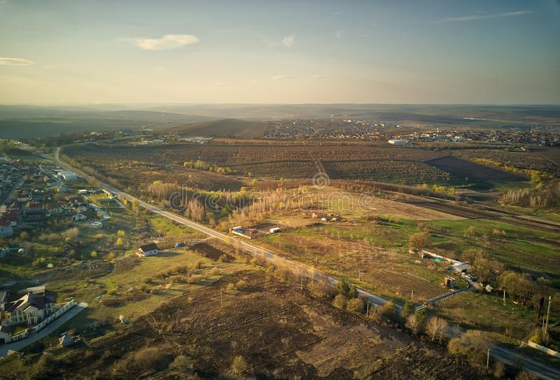 Sunset real estate suburb homes. Community suburbia neighborhood in Moldova. Aerial drone view above new development stock image