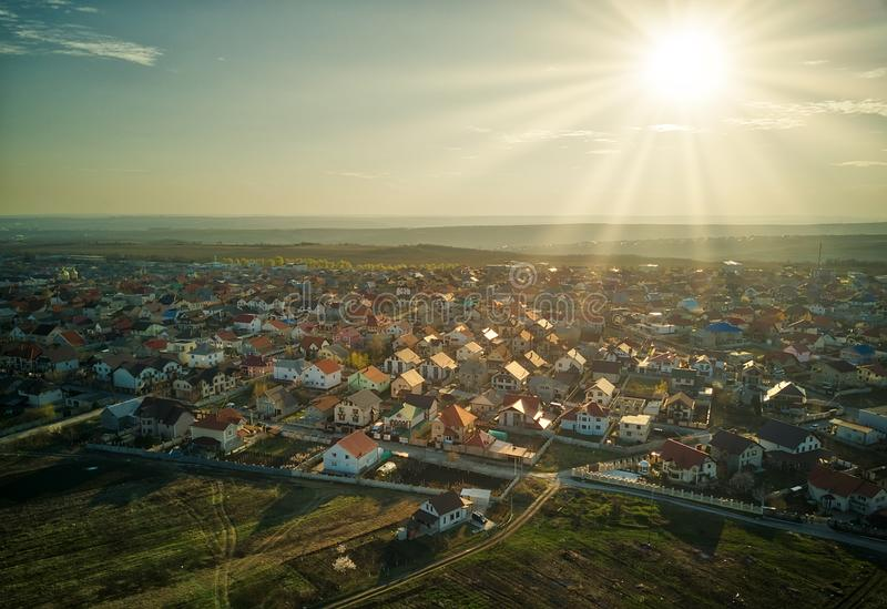 Sunset real estate suburb homes. Community suburbia neighborhood in Moldova. Aerial drone view above new development royalty free stock photography