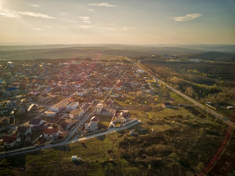Sunset real estate suburb homes. Community suburbia neighborhood in Moldova. Aerial drone view above new development stock photography