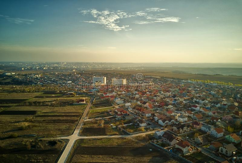 Sunset real estate suburb homes. Community suburbia neighborhood in Moldova. Aerial drone view above new development stock images