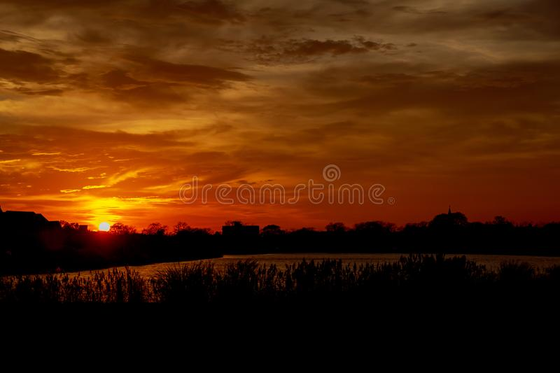 sunset red sky cloud cloudscape, landscape royalty free stock photo