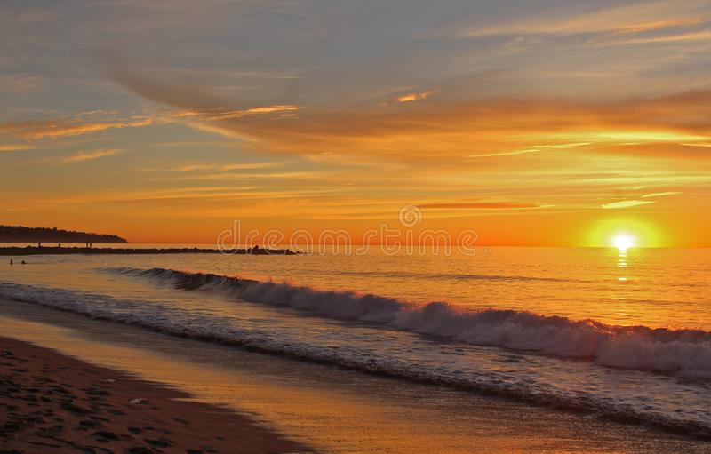 Sunset, Redondo Beach, Los Angeles, California. A gorgeous sunset on a quiet autumn evening by the shore in Redondo Beach, Los Angeles, California stock photography