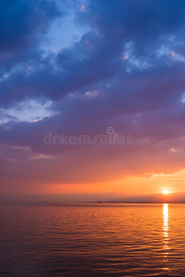 Sunset Reflected In Water With Clouds Free Public Domain Cc0 Image