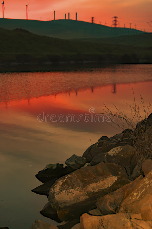 Sunset reflection at Bethany Reservoir. Sunset reflection at Bethany Reservoir, San Joaquin Valley, CA. USA stock photos