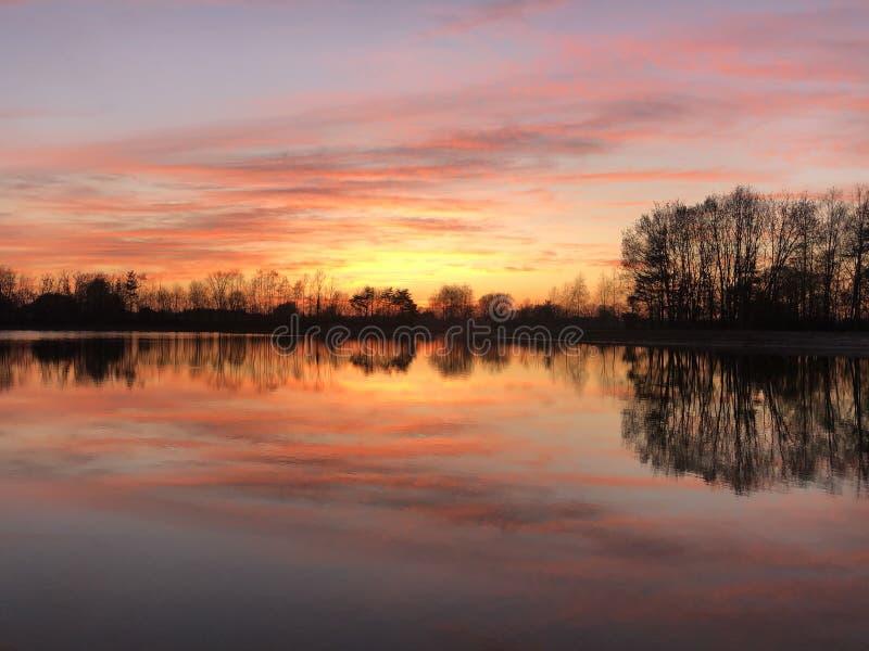 Sunset reflection in a lake around Zelhem. The Netherlands stock image