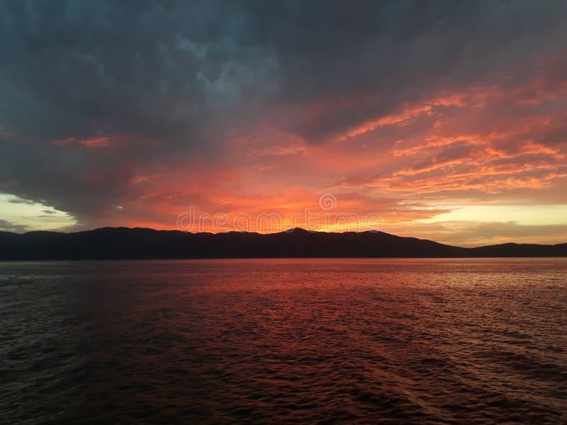 Sunset reflection on the sea. Nature, landscape, background royalty free stock image