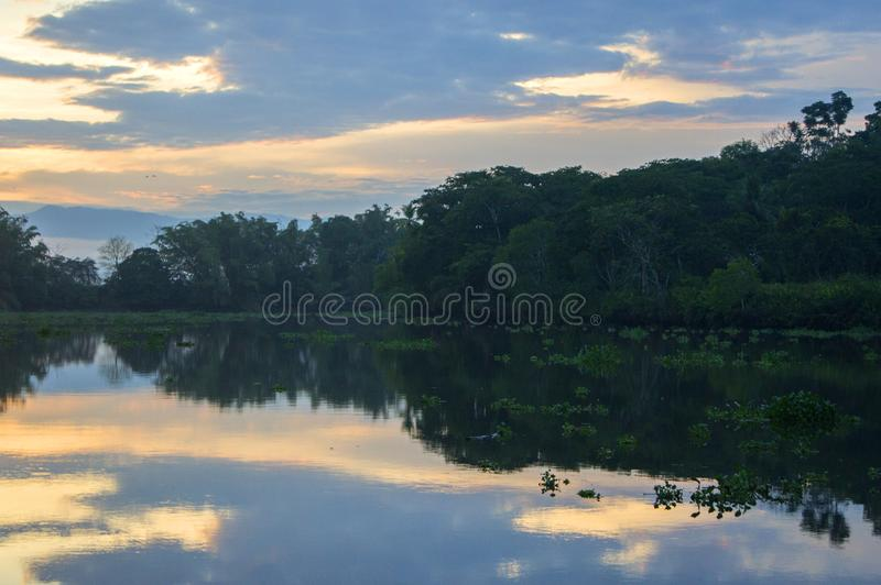 Sunrise reflection, Sierpe, Costa rica royalty free stock image