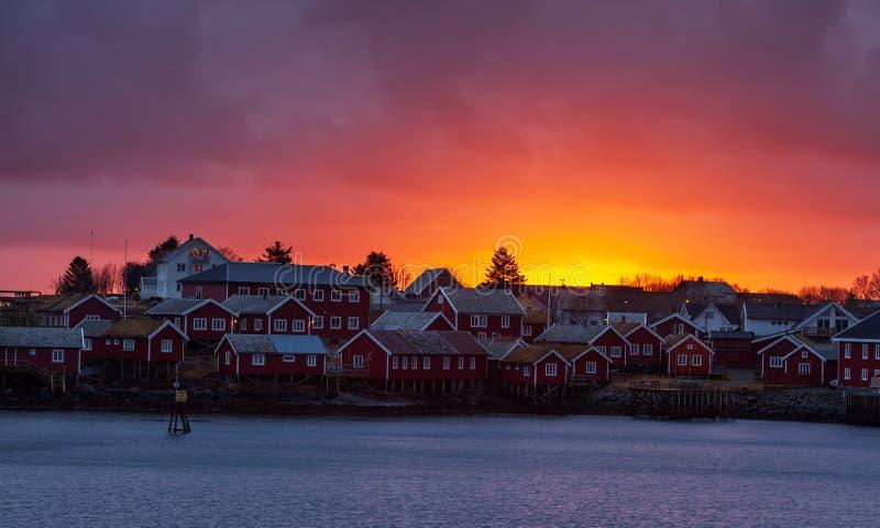 Sunset Reine, Lofoten fjord, Norway royalty free stock images