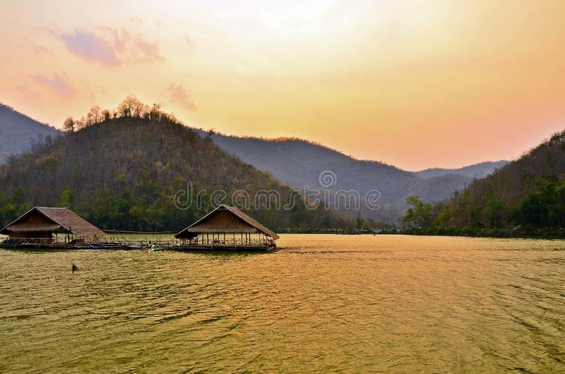 Sunset at the Reservoir , Hub Kao Wong , Suphan Buri , Thailand royalty free stock images