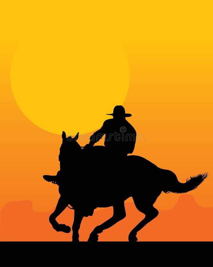 Download Sunset Rider stock vector. Illustration of riding, farm - 4009823