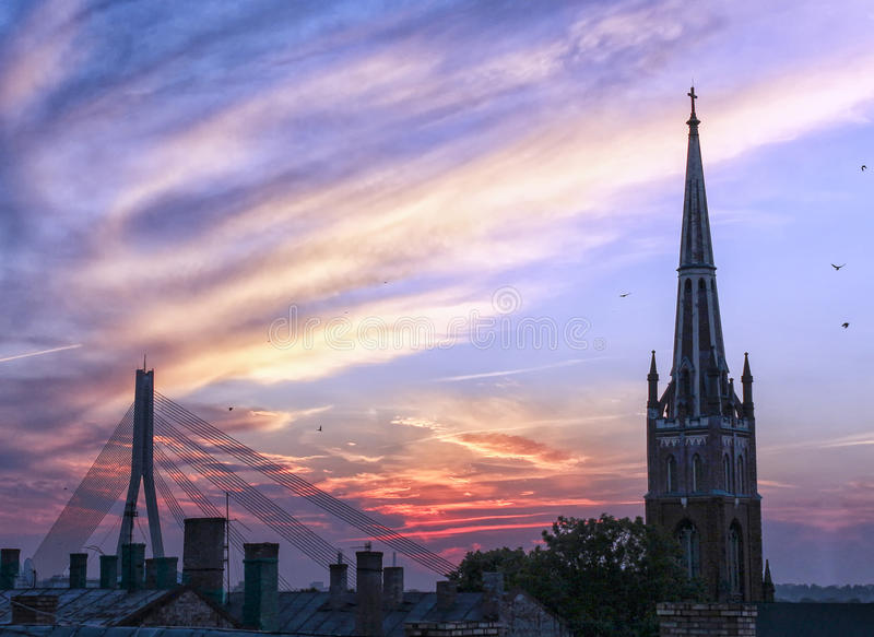 Sunset in Riga stock images