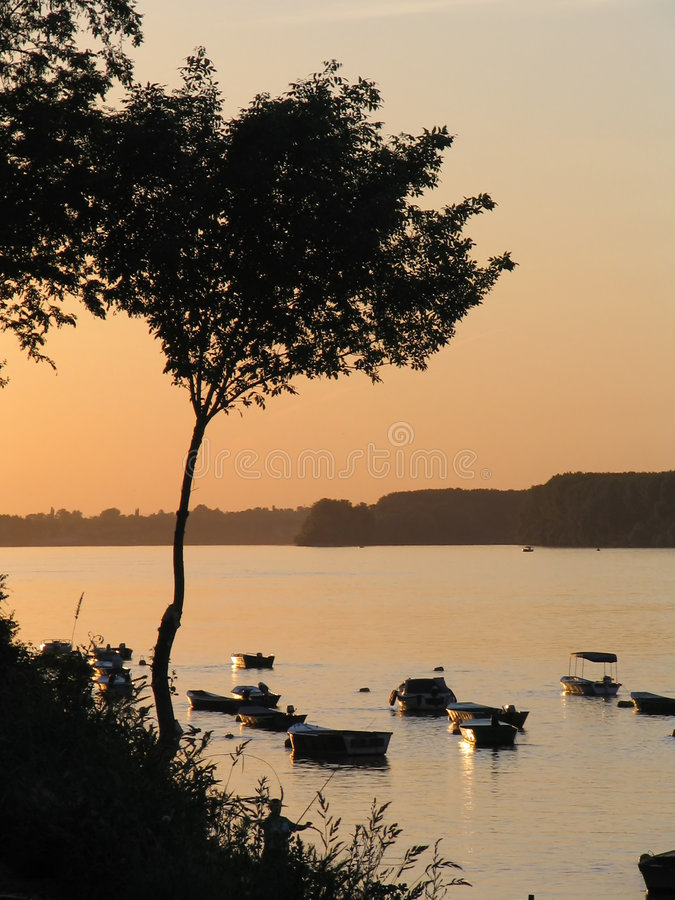 Download Sunset On The River Royalty Free Stock Images - Image: 1089609