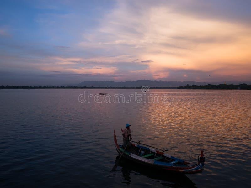 Sunset at river Ayeyarwady near Mandalay. On Myanmar royalty free stock images
