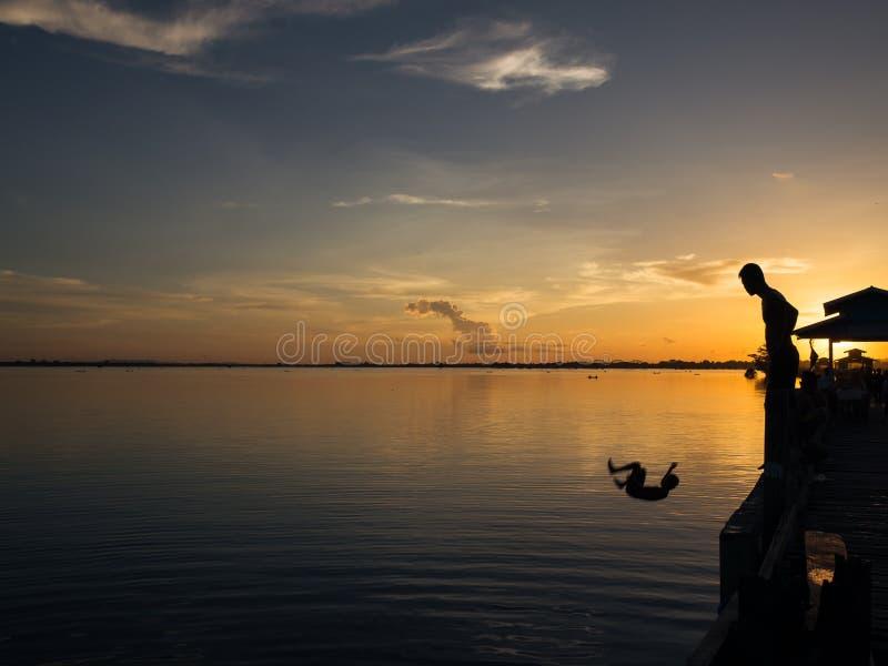 Sunset at river Ayeyarwady near Mandalay. On Myanmar royalty free stock photos