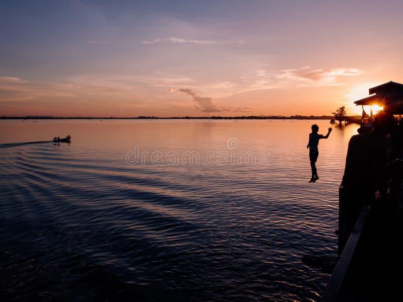 Sunset at river Ayeyarwady near Mandalay. On Myanmar stock photography