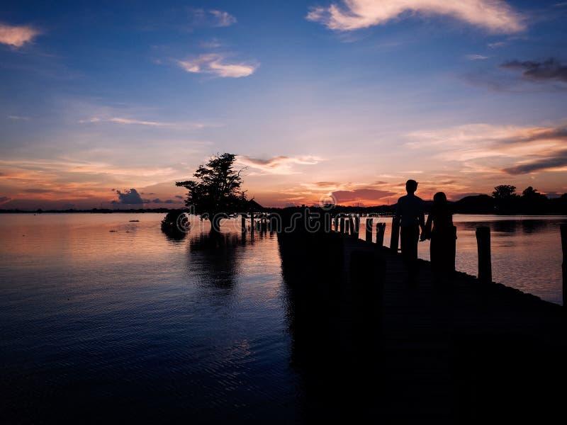 Sunset at river Ayeyarwady near Mandalay. On Myanmar stock photo