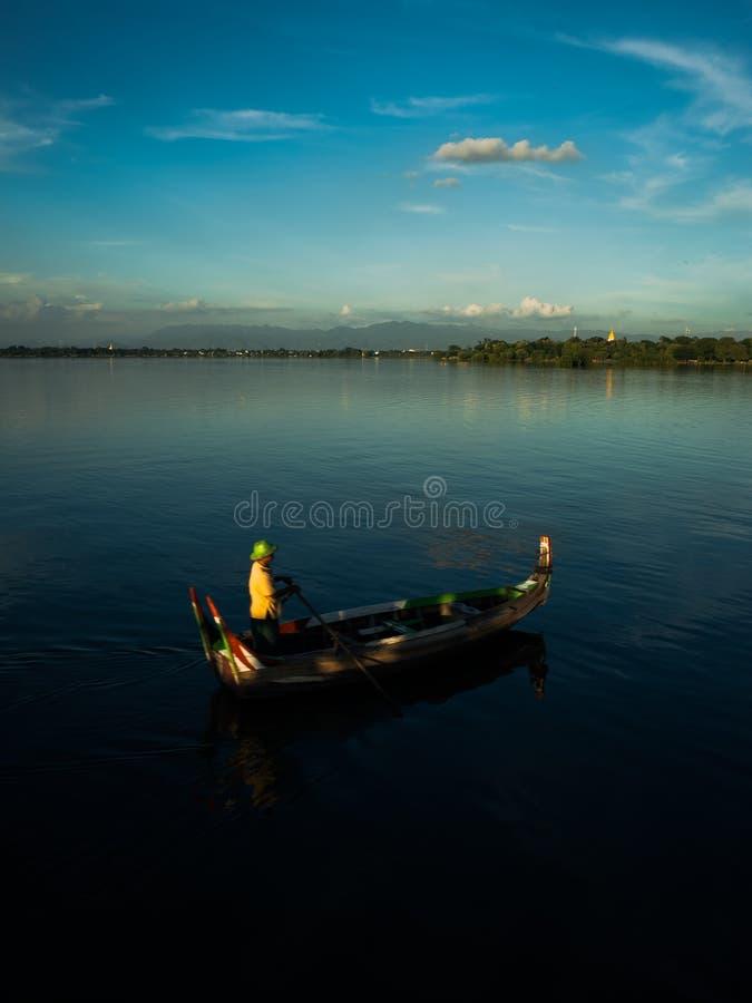 Sunset at river Ayeyarwady near Mandalay. On Myanmar stock photos