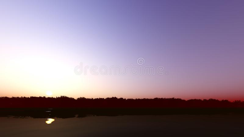Sunset on the river 3D render. Sunset on the river dark color 3D render royalty free stock photo