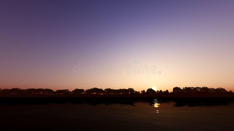 Sunset on the river 3D render. Sunset on the river dark color 3D render stock image
