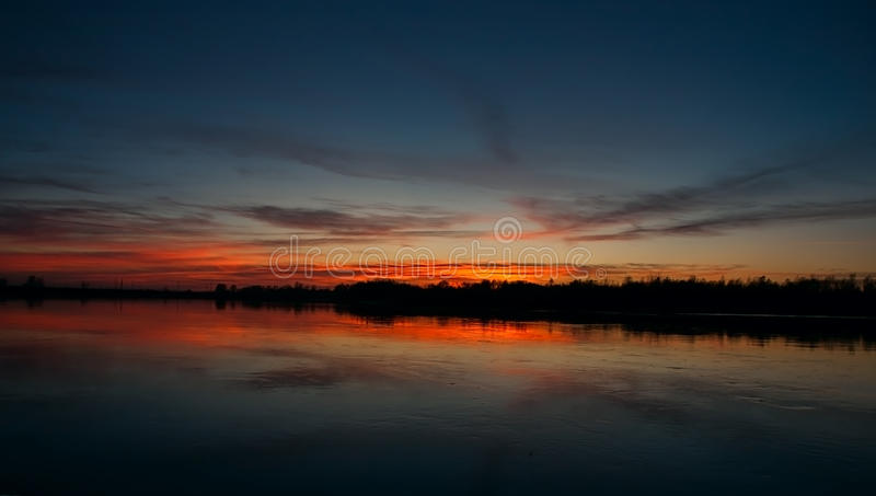 Sunset on the river royalty free stock photo