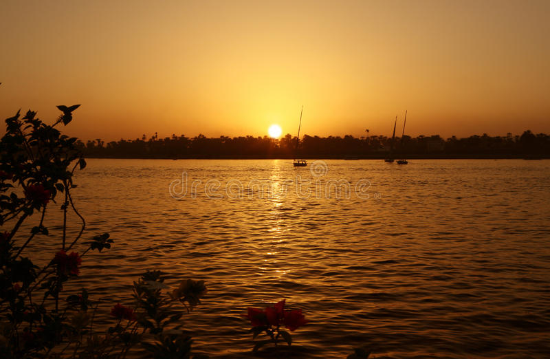 Sunset on The River Nile stock photography