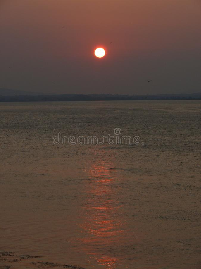 Sunset on the river photo shoot royalty free stock photography