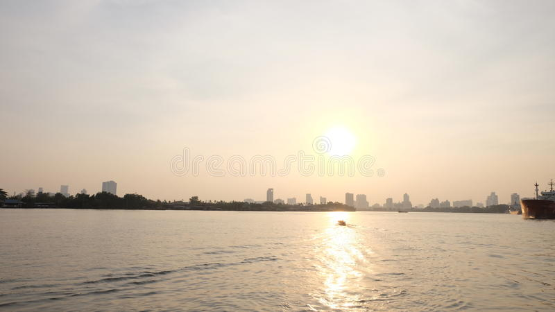 Sunset in the River. stock photo