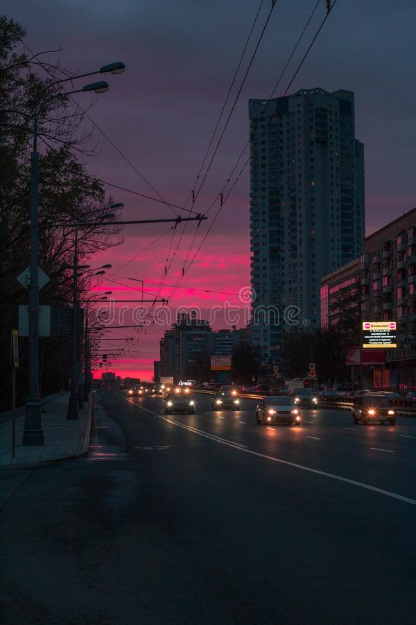 Sunset on river station in Moscow. royalty free stock image